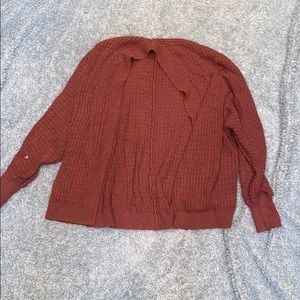 Dark pink open cardigan sweater